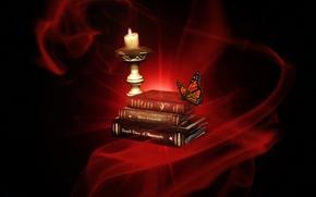 Рендеринг: свеча, книга, бабочка