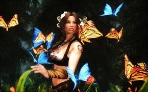 Обои Фантастика: девушка, бабочки, art