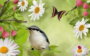 Рендеринг: птица, бабочка, цветы