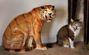 Настроения: оскал, кот, тигр, статуэтка