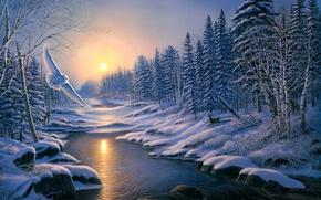 Рендеринг: зима, закат, лес, деревья, река, сова, пейзаж, живопись