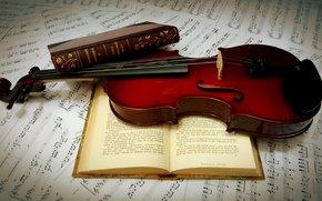 Обои Разное: книги, скрипка, ноты