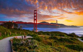 Город: Мост Золотые Ворота, пролив Золотые Ворота, Сан-Франциско