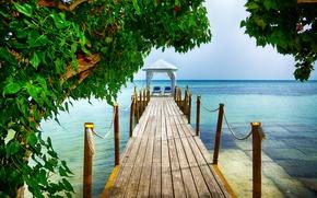 Пейзажи: море, пирс, мост, деревья, пейзаж