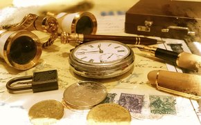 деньги, часы, бинокль, ручка обои, фото
