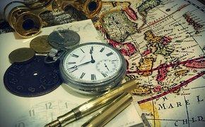 Обои Разное: карта, деньги, часы, бинокль, ручка