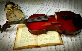 Обои Разное: скрипка, книга, будильник