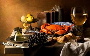 еда, виноград, краб, лимоны обои, фото