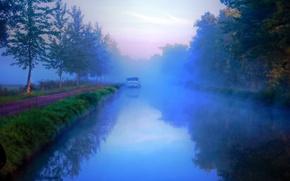 Пейзажи: канал Ниверне, Франция, деревья, туман, дорога, пейзаж