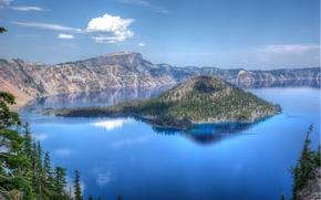 Пейзажи: Crater Lake National Park, озеро, остров, деревья, пейзаж