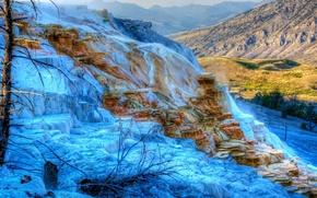 Маммот-Хот-Спрингс, Йеллоустонский национальный парк, горы, пейзаж обои, фото