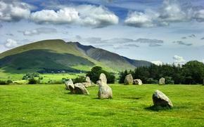 Пейзажи: Castlerigg Stone Circle, England, UK, холмы, поле, камни, деревья, пейзаж