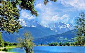 Пейзажи: озеро, горы, деревья, пейзаж, облака