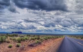 Пейзажи: дорога, поле, небо, облака, пейзаж