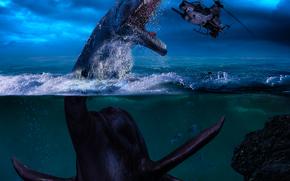 Фантастика: морской динозавр, вертолёт, фантастика