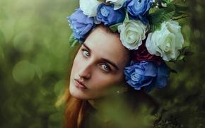 Настроения: девушка, лицо, взгляд, портрет, венок, цветы, настроение