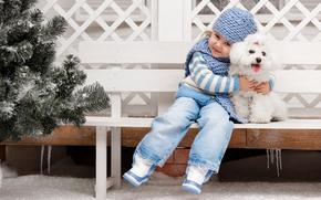 Настроения: девочка, собака, дружба, друзья, настроение