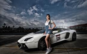Машины: Lamborghini Aventador LP 700-4, Lamborghini Aventador, Lamborghini, Aventador, sports car, суперкар, модель, азиатка, поза