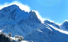Пейзажи: горы, снег, зима, деревья, пейзаж