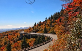 Пейзажи: Blue Ridge Parkway Linn Cove Viaduct, Северная Каролина, осень, мост, деревья.пейзаж