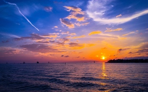 Пейзажи: закат, море, парусники, пейзаж