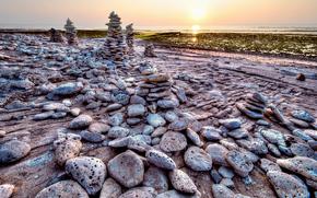 Пейзажи: закат, море, берег, камни, пейзаж