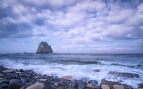 Пейзажи: закат, море, берег, камни, скала, пейзаж