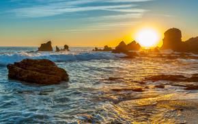 Пейзажи: море, закат, волны, скалы, пейзаж