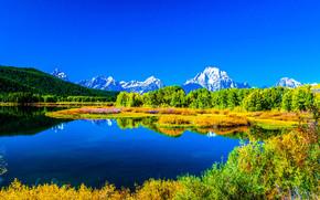 Пейзажи: озеро, горы, деревья, осень, пейзаж