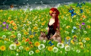 Рендеринг: поле, девушка, кролики, art