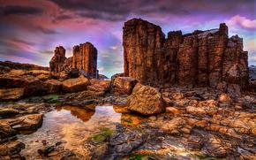 закат, море, скалы, берег, пейзаж обои, фото