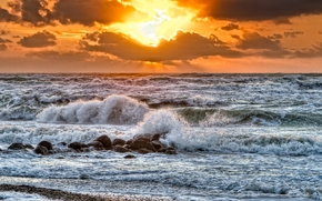 Пейзажи: закат, море, волны, пейзаж