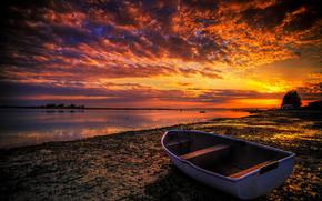 Пейзажи: закат, берег, лодка, пейзаж