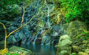 Природа: скалы, камни, водопад, водоём, деревья, природа