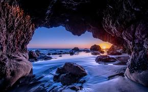 Malibu, Sunset, закат, море, скалы, арка, пейзаж обои, фото