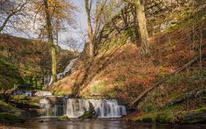 Природа: осень, холмы, водопад, речка, природа