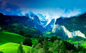 Пейзажи: горы, холмы, деревья, дома, италия, пейзаж