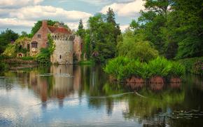 Пейзажи: Scotney Old Castle, Lamberhurst, Kent, озеро, деревья, замок, пейзаж