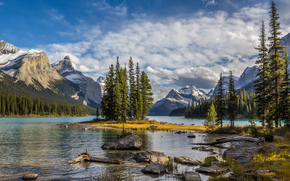 Пейзажи: Maligne Lake, Jasper National Park, озеро, деревья, пейзаж