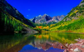 Пейзажи: Maroon Bells, Colorado.озеро, горы, деревья, осень, пейзаж