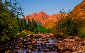 Пейзажи: река, горы, деревья, камни, пейзаж, штат Колорадо