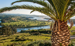 Пейзажи: Устье реки Пас, Кантабрия, вид с верху, пейзаж