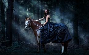 Обои Ситуации: девушка, платье, маска, конь, лошадь, лес
