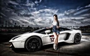 Машины: Lamborghini Aventador LP 700-4, Lamborghini Aventador, Lamborghini, Aventador, sports car, суперкар, модель, азиатка