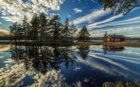 Пейзажи: Ringerike, Norway, Рингерике, Норвегия, озеро, отражение, дом, облака, деревья