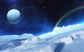 Космос: лёд, радуга, планета