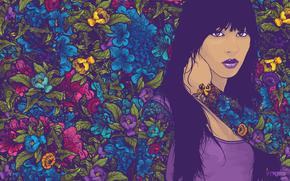 стиль, арт креатив, вектор, узоры, девушка, цвета обои, фото