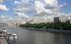 москва, река, высотки обои, фото