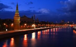 москва, кремль, река, ночь обои, фото