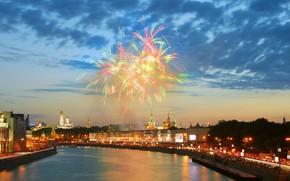 москва, река, салют, кремль обои, фото